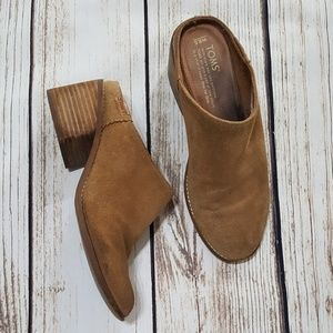 Tom's Suede Leather Mules Slip On's Size 8.5
